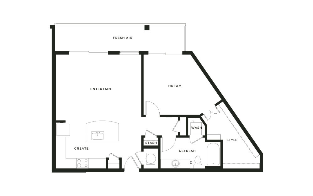 A10 - 1 bedroom floorplan layout with 1 bath and 897 square feet.