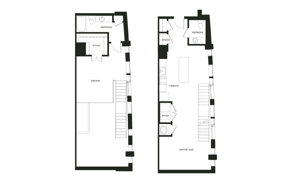 A12_L - 1 bedroom floorplan layout with 1 bath and 1085 square feet.