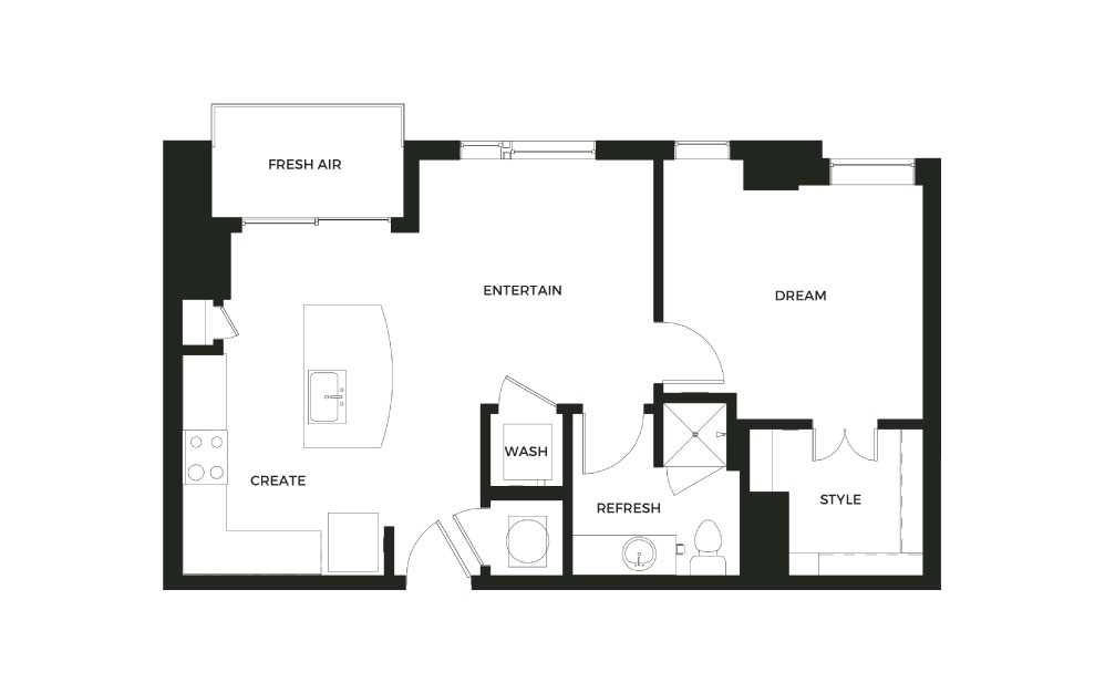 A2_P - 1 bedroom floorplan layout with 1 bath and 691 square feet.