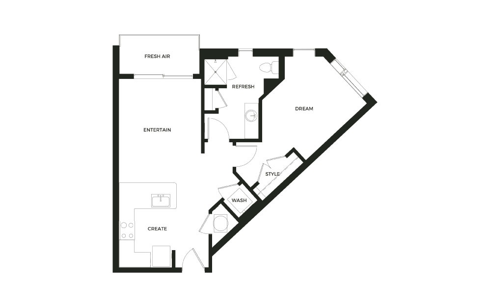 A3 - 1 bedroom floorplan layout with 1 bath and 693 square feet.