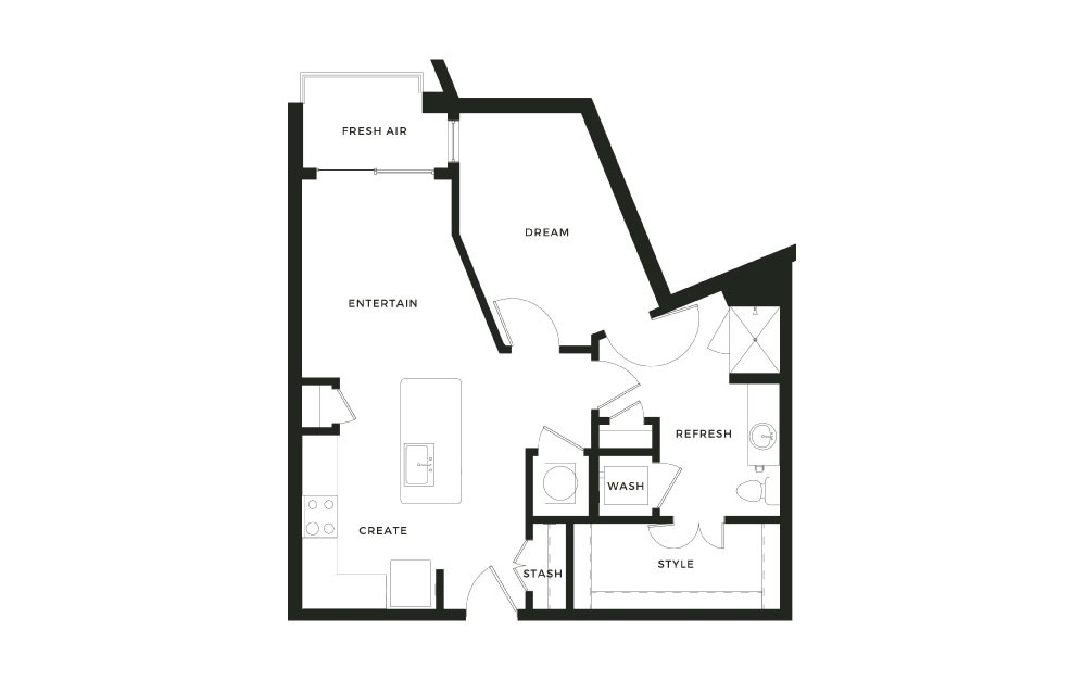 A5_P - 1 bedroom floorplan layout with 1 bath and 745 square feet.