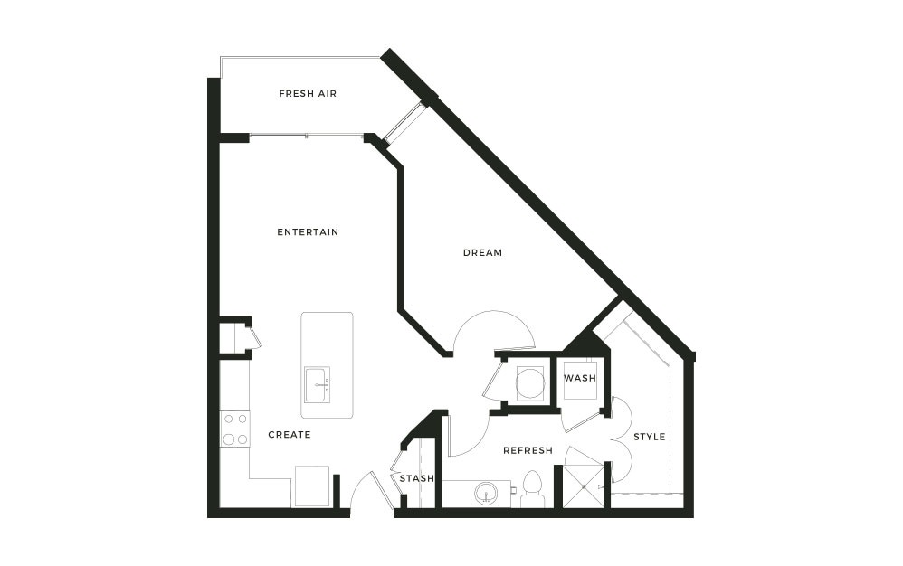 A6 - 1 bedroom floorplan layout with 1 bath and 765 square feet.