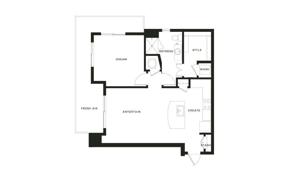 A7 - 1 bedroom floorplan layout with 1 bath and 803 square feet.