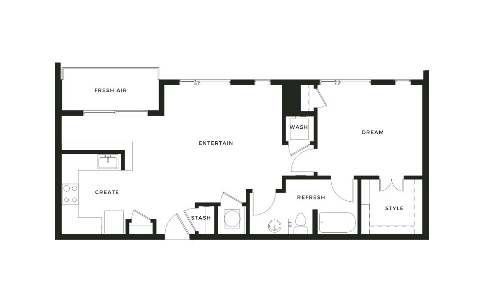 A8 - 1 bedroom floorplan layout with 1 bath and 847 square feet.