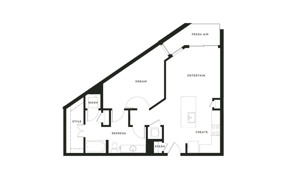 A9 - 1 bedroom floorplan layout with 1 bath and 851 square feet.