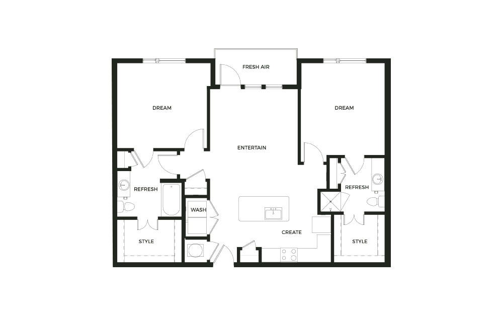 B1 - 2 bedroom floorplan layout with 2 baths and 1170 square feet.