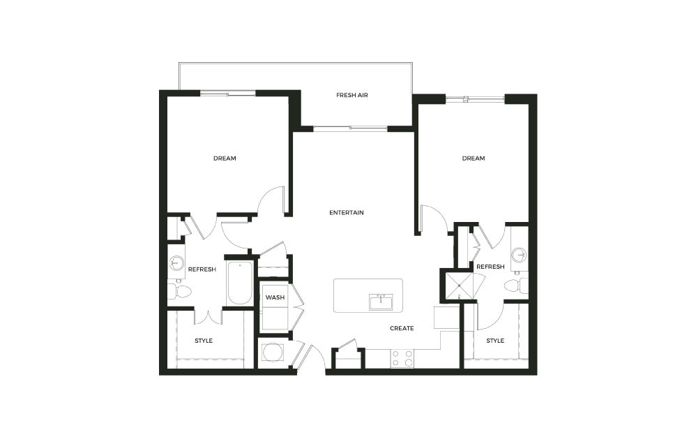 B1_D - 2 bedroom floorplan layout with 2 baths and 1150 square feet.