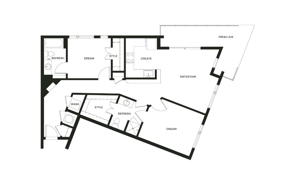 B3 - 2 bedroom floorplan layout with 2 baths and 1080 square feet.
