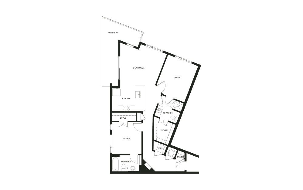 B3A - 2 bedroom floorplan layout with 2 baths and 1069 square feet.