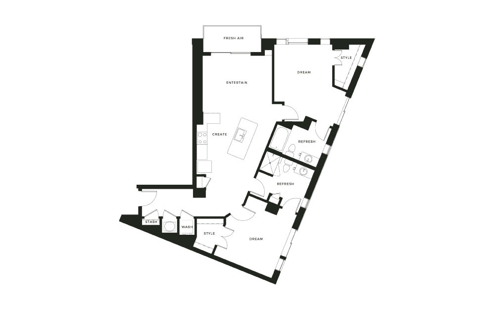 B4 - 2 bedroom floorplan layout with 2 baths and 1303 square feet.