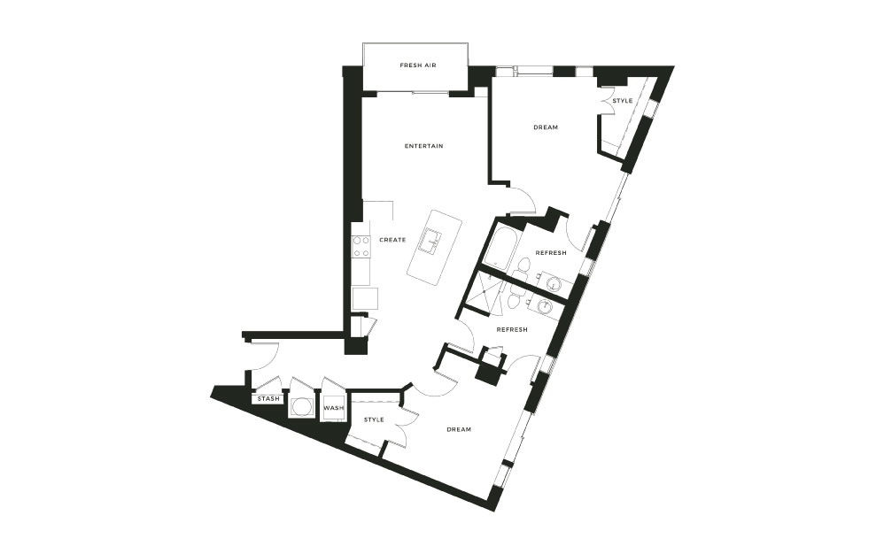 B4_P - 2 bedroom floorplan layout with 2 baths and 1244 square feet.
