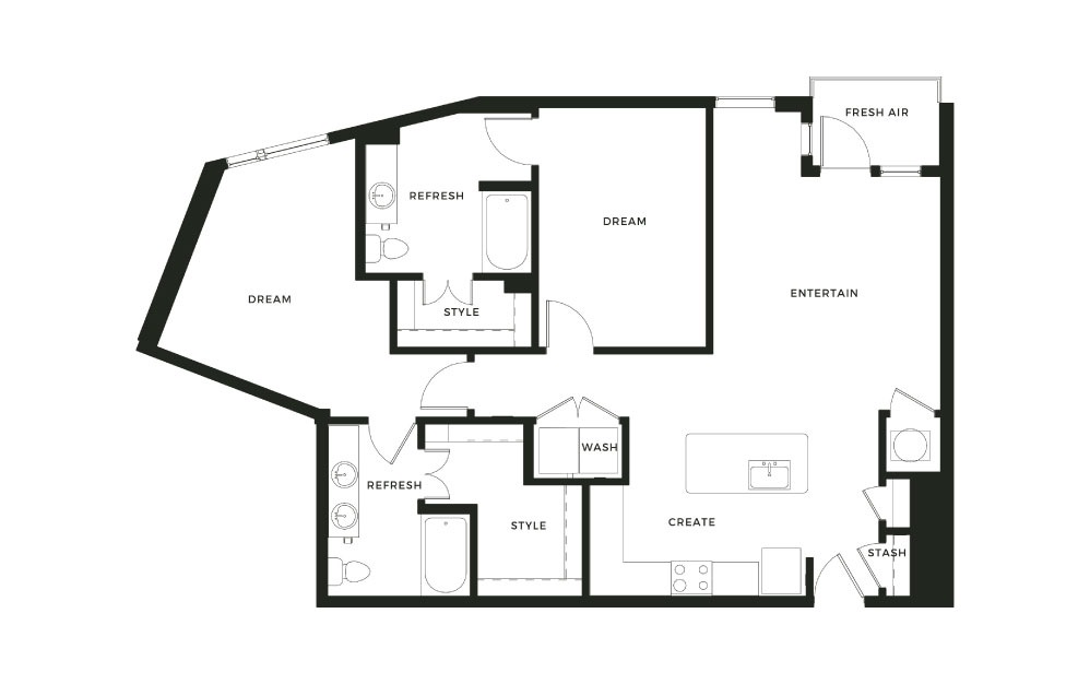 B5 - 2 bedroom floorplan layout with 2 baths and 1278 square feet.